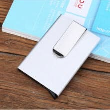 -Fashion Blocking RFID Metal Wallet Money Clip Alloy Money Credit Card ID Holder on JD