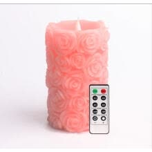 candles-holders-Simplux Rose Shap Free-Flowing 3D Fireless Flame LED Pillar Candle with Remote Control, Battery Operated,3.5x6', Pink  pack of 2 on JD