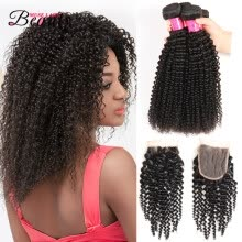 -Muse Lady Beauty Malaysian Kinky Curly Human Hair Weaves Extension 3 Bundles Lot with Closure Human Virgin Hair on JD