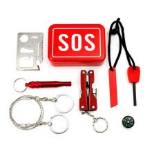 875062320-BZN Outdoor Survival Kit--Card knife,Compass, Flintstone, Whistle, Fretsaw,Multifunction Tool clamp on JD