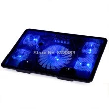 laptops-tablets-Notebook cooling pad Blue LED Laptop Cooler 5 Fans 2 USB Port Stand Pad for Laptop 10-17' PC usb cooler for notebook +USB Cord on JD