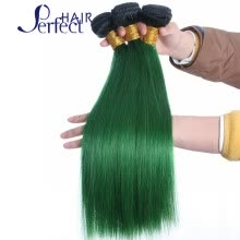 -1B/Green Ombre Brazilian Hair Two Tone Brazilian Virgin Hair Straight  8A Grade Ombre Hair Extension Brazilian Hair Weave on JD