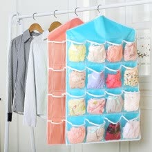 87502-[Jingdong supermarket] green reed door storage bag storage bag wardrobe underwear socks debris classification hanging bag 2 loaded S hook 6 on JD