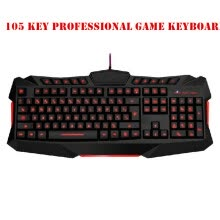 -105 key Ergonomic design wired gaming keyboard LED backlight USB powered desktop computer computer peripherals on JD