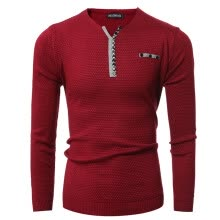 pullovers-Men V-Neck Button Stitching Fashion Sweater on JD
