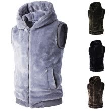 vests-Men Mink cashmere Hooded Warm Vest Coat on JD