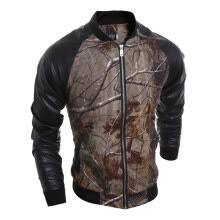 leather-faux-leather-men Casual Pu Splicing Jacket Coat on JD