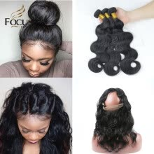 -Lady Focus Brazilian Virgin Hair Body Wave Human Hair 3 Bundles With 360 Lace Frontal Natural Black Pre Plucked Natural Hair Line on JD