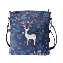-Flower princess secret garden original hand-painted folding messenger bag shoulder art canvas handbag 1508XZ001 blue on JD