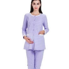 - Aibo month suit suit set maternity maternity clothes home service pajamas feeding pants stripes side open breast feeding M304 pink M on JD