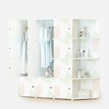 8750213-Kouzi simple wardrobe plastic modern simple adult combination storage children resin assembly folding double wardrobe leaves ordinary 12 door 6 grid 2 hanging belt angle on JD