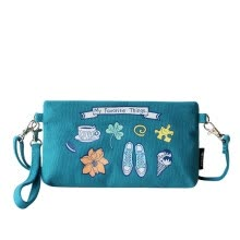 -Flowers princess favorite literature fresh small messenger bag canvas leisure bag 1605SX007 turquoise green on JD