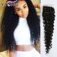 -New Arrival Virgin Indian Kinky Curly Closure 100% Human Hair Lace Closure 4X4 YYONG Hair Products Natural Color 1B Free Shipping on JD