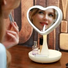 875062575-One box surprise early desktop makeup mirror QHZLP-002 rechargeable makeup mirror touch switch can be stored Valentine's Day send his girlfriend to send his wife birthday gift gift ivory white on JD