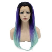 -Long Straight Ombre Violet Purple Blue Two Tone Lace Front Wig on JD