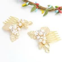 875062531-Charming Golden Flower Hairpin Bridal Combs for Wedding jewelry Accessories on JD