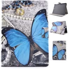 -Blue Butterfly Style Classic Flip Cover with Stand Function and Credit Card Slot for Samsung Galaxy Tab S2 T715C on JD