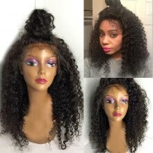 -Peruvian Virgin Human Hair Wig Afro Curly Lace Front Wigs Glueless Afro Kinky Curly Full Lace Wigs For Black Women 150% Density on JD