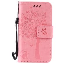 -Pink Tree Design PU Leather Flip Cover Wallet Card Holder Case for IPHONE 4 on JD