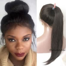 -New Full Lace Human Hair Wigs Glueless Full Lace Wigs Silky Straight Brazilian Virgin Hair 100% Human Hair Ponytail Wigs For Women on JD