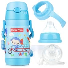 -The United States Fisher-Price  baby sucker cup baby learn to drink cups back to drink kettle training cup milk bottle pacifier five in one boxed 300ML blue on JD