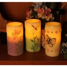 candles-holders-DFL spring electronic flameless led candle, decorated with green Dragonfly and embossed Purple Butterfly, 7.6X15.2 cm on JD