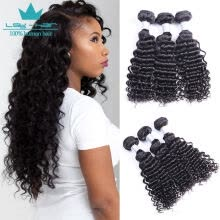 -Deep Wave Peruvian Hair 3 Bundles 100% High Quality 10A Human Hair Weave Bundles Hair Weaving Extensions Natural Color 3 Pieces/Lo on JD