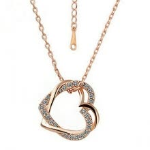 -Yoursfs@ Open Heart Necklace for Women 18K Rose GP Fashion Jewelry CZ Double Heart Pendant on JD