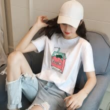 -Long Yue Women loose loose casual short-sleeved round neck T-shirt college style fashion wild primer LWTD172202 pink L on JD