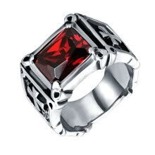 -Yoursfs@  Vintage Friar Men's Double Cross Ring With Red  Colors Stone Fashion Ring on JD
