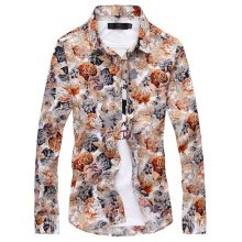 875061442-Men's shirts with long sleeves in Korean fashion casual shirt printing floral stylist clothes tide inch slim on JD