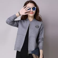 -A long morning 2017 Korean version of the simple Slim thin sweater jacket long sleeves short section sweater women autumn cardigan S64Z0158A159JM light purple uniform on JD