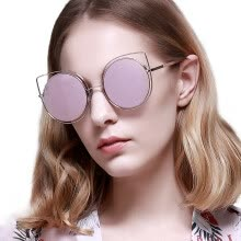 -LOHO glasses life sunglasses female 2017 new tide fashion sunglasses women round face personality cat ears retro glasses LH13603 carbon black on JD