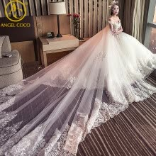 -Gorgeous Wedding Dresses 2017 Vestido De Noiva Sereia Sheer Back Neck Ruffles Removable Long Tailing Bridal Dress weeding Gown on JD