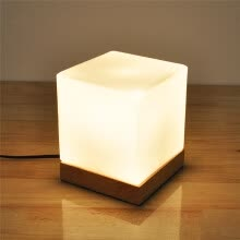 -BOKT Minimalist Solid Wood Table Lamp Bedside Desk Lamp Home Decor Milky White Square Glass Lampshade on JD