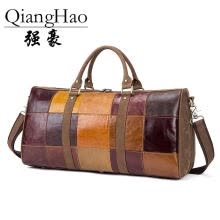 -QiangHao High Quality! GENUINE LEATHER Travel bag first layer of cowhide vintage colorant match big drum handbag messenger bag on JD