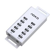 -10 Ports Aluminum  USB 2.0 Hub High Speed for PC Laptop Desktop + 36W power supply + USB Cable on JD