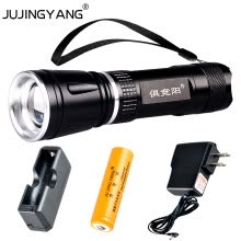 8750502-Rechargeable tactics LED Flashlight 18650 zoom torch waterproof flashlights T6 led Zoomable light For 18650 lithium Battery on JD
