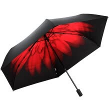 87502-[Jingdong Supermarket] Paradise umbrella UPF50 + carbon fiber ultra-light all-shading black glue in the transfer of three fold sunny umbrella sun umbrella red 30034ELCJ on JD