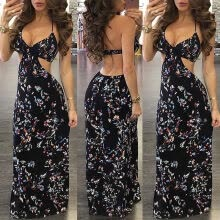 -CANIS@Womens Floral Long Maxi Dress Long Sleeve Evening Party Summer Beach Sundress on JD