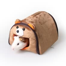 8750208-Giza Tsai small pet nest stupid bear shape warm nest Dutch pig nest guinea pig tuna nest hamster nest removable sleeping bag cartoon animal modeling mini nest M on JD