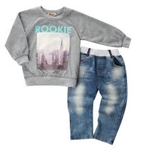 -Baby Kids Boys Clothing Printed Coat Shirt Sweater + Jeans Denim Pants Outfits on JD