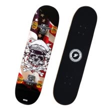 -Sports Partners (MOTION PARTNER) Skateboard for beginners Men and women Adult Children Street brush Maple double-fingered board Long board candy bar Skull on JD