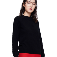 875061819-Floral pattern embroidered black cashmere sweater on JD