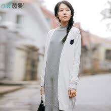-Yan Man (INMAN) 2017 autumn new V-neck wild leisure long cardigan sweater coat female 1873131415 white white S on JD