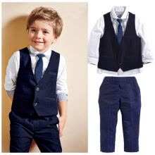 875062819-Gentleman Kids Baby Boys Suit Tops Shirt Waistcoat Tie Pants 4PCS Set Clothes on JD