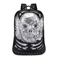-New Luxury High Quality leather Backpack Punk Style 3D Skull  Rivet individuality Schoolbag  Notebook Bag Halloween bag on JD