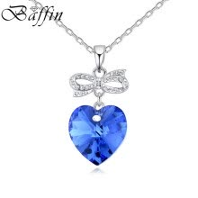 -Fashion Ocean Blue Heart Pendant Necklaces Made With SWAROVSKI Elements Crystals For Lovers Best Gifts on JD