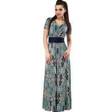 -COCOEPPS  Summer Fashionable Women 2XL Plus Size Sashes Print Long Dress Elegant Vintage V-neck Floor-Length Maxi Dresses Clothing on JD