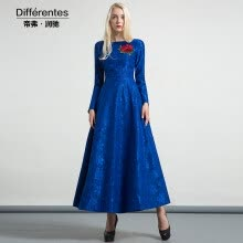 -DF · RS Paul blue jacquard dress long section knee 2017 autumn and winter new round neck waist dress on JD